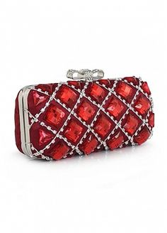 Shining Full Metallic Shell With Crystal Evening Handbags Wine Red Color d62f6cdcaf9a