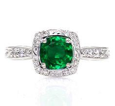 Art Deco Emerald Engagement Ring Diamond Halo 14K Emerald Ring Vintage Custom Bridal Jewelry on Etsy, $1,075.00