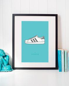 Adidas Superstar Sneaker Illustration • Classic Urban Streetwear Shoes Wall Art Home Decor • #adidas #superstar #adidassneakers #adidasart #adidasposter #adidassuperstar #superstarsneakers