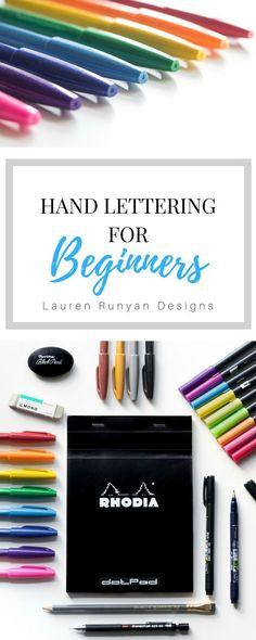 Hand Lettering for Beginners- Lauren Runyan Designs Hand Lettering For Beginners, Hand Lettering Tutorial, Calligraphy Tutorial, Creative Lettering, Brush Lettering, Lettering Ideas, Calligraphy Letters, Modern Calligraphy, Handwritten Letters