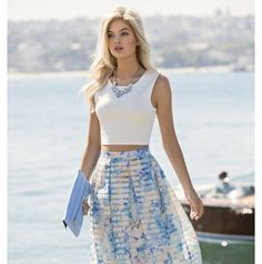 Forever New Plain white crop top with a light blue chiffon maxi skirt