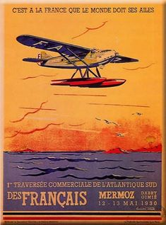 Lucien CAVE – Vintage poster – Small poster, published in 1930 by the French Air Defense Department Alexandre Le Grand, Travel Ads, Air Travel, Flying Boat, Vintage Airplanes, Air France, Aviation Art, Art Graphique, Vintage Travel Posters