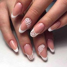 The advantage of the gel is that it allows you to enjoy your French manicure for a long time. There are four different ways to make a French manicure on gel nails. The choice depends on the experience of the nail stylist… Continue Reading → Nail Art Designs 2016, Nail Polish Designs, Stylish Nails, Trendy Nails, Nail Art Dentelle, Nail Art Modele, Nail Art Fleur, Bridal Nail Art, Bride Nails