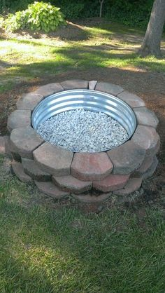 Fire Pit DIY: Landscaping Blocks, Metal Ring, Marble White Stones