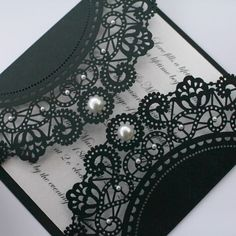 black lace wedding invitation with pearl details - for my black and red (and my white dress) themed wedding.