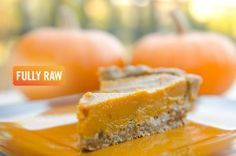 Fully Raw Kristinas Low-fat, Raw, Vegan Pumpkin Pie. I actually made this for Thanksgiving, and it was amazingly delicious (even with a lot fewer dates)!