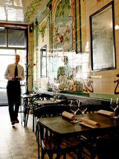 The gastronomic restaurant, Vivant Table, shares an address with its sister restaurant, the bar à vin or cave-a-manger, Vivant Cave. (Paris, France)par