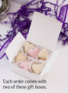 Blush pink and soft white sugar hearts, 4 dozen for $17.50