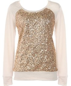 Shine Bright Sweater: Features a classic round neckline framed by long cozy sleeves, glittering gold sequin panel to the front, and a solid cream backside to finish.