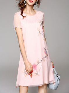 Pink Silk Hand-drawn Short Sleeve Shift Midi Dress