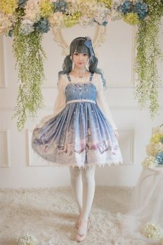 Le Miroir -Butterfly Pavilion- Lolita High Waist Jumper Dress
