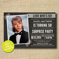 Modern Milestone Surprise Birthday Party Invite by creativelime