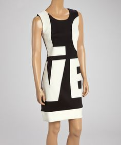 Look what I found on #zulily! Black & White 'Love' Sleeveless Dress by Linea Domani #zulilyfinds