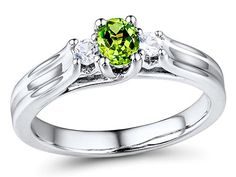 Peridot and Sapphire Ring in Sterling Silver
