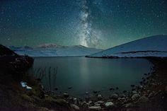 The Milky Way over a mountain near Ush Konyr plateau in Kazakhstan.