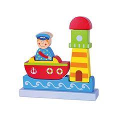 """Magnetische stapelfiguur boot *** Met deze puzzel vergroot uw kind zijn/haar ruimtelijk inzicht. Wanneer de puzzel niet gebruikt wordt staat hij zeer decoratief op de speelgoedplank of de slaapkamer van uw kind. De 7 puzzelstukken """"kleven"""" met onzichtbare magneetjes aan elkaar."""