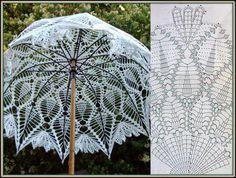 Crochet white umbrella ♥LCU-MRS️♥ with diagram. Filet Crochet, Art Au Crochet, Crochet Home, Thread Crochet, Irish Crochet, Crochet Doilies, Crochet Stitches, Lace Umbrella, Lace Parasol
