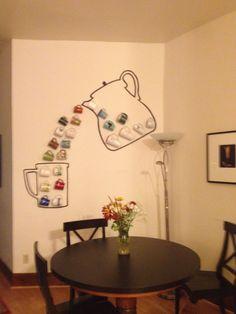 Coffee Mugs Display bar ideas diy mug display Coffee Bar Home, Home Coffee Stations, Coffee Shop Design, Cafe Design, Coffee Mug Display, Coffee Mugs, Diy Apartment Decor, Diy Home Decor, Mug Storage