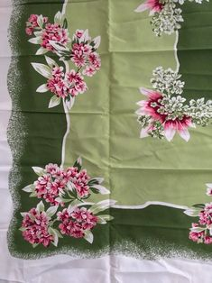 Vintage California Hand Prints Tablecloth 50 x 52 Pink and Green Floral  | eBay