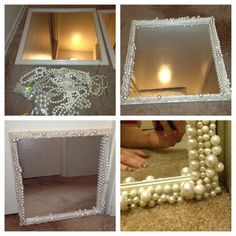 My DIY pearl mirror. Found the mirror in my laundry room. Bought the pearls at a swap meet for $8. This will be for my make up station in the new house