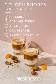 Brighten your coffee drinking experience with this Golden Shores recipe from Nespresso. Combine almond milk and caramel syrup with an Arpeggio Capsule for a rich and creamy beverage—don't forget to add a pop of color by topping it with an orange peel. Click below to learn how to make this tasty iced coffee.