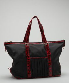 Love this Black & Red Patent Satchel by Tiffany & Fred on #zulily! #zulilyfinds