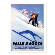 Shop Vintage winter sports Italian Alps travel Postcard created by aapshop. Vintage Ski, Vintage Winter, Vintage Travel Posters, Poster Vintage, Turin, Aosta Valley, Custom Posters, Ski Posters, Sports Art