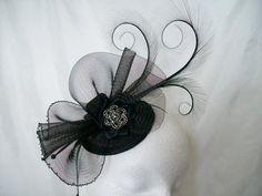 Elegant Black Curl Feather Crinoline & by IndigoDaisyWeddings