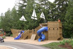 pirate ship playhouse plans or designs Playground Design, Backyard Playground, Outdoor Play Areas, Outdoor Fun, Boys Playhouse, Backyard Swing Sets, Parc A Theme, Wendy House, Play Yard