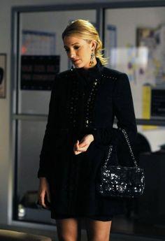 Nanette Lepore Party Girl Coat / Chanel Sequin Flap Bag in Black