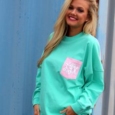 Monogrammed Colorblock Pocket Pullover Jersey from Marleylilly.com