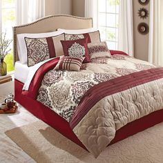 bedding comforter set 7piece red ikat king shams bed skirt decorative pillow