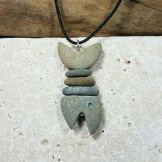 Beach Rock Fish Necklace natural stone fish pendant by RockYouWear