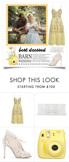 """""""Best Dressed for Barn Wedding"""" by conch-lady ❤ liked on Polyvore featuring self-portrait, VBH, Gianvito Rossi, bestdressedguest and barnwedding"""