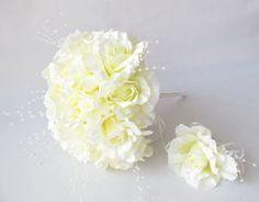 Wedding bouquet Men's Boutonniere Soft Yellow by TheSecretGardenn, $40.00