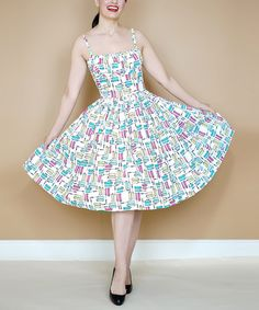 White & Blue Mascara A-Line Dress - Plus Too #zulily #zulilyfinds