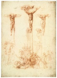 MICHELANGELO Buonarroti The Crucifixion of Christ and the Two Thieves 1522-24 Red chalk, 394 x 281 mm British Museum, London