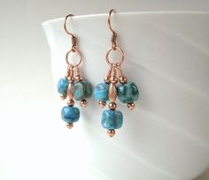Blue Agate Earrings Blue Crazy Lace Agate Turquoise by MariesGems, $17.00