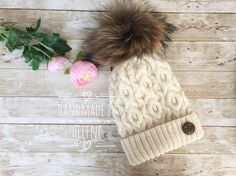 Real fur pompom hat knit winter hat large fox fur pompom Pom Pom Hat, Fox Fur, Knitted Hats, Winter Hats, Boutique, Knitting, Trending Outfits, Crochet, Unique Jewelry
