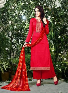 5cb03400e3 Buy Red Cotton Wonderful Salwar Kameez in Straight Cut Style Online at Low  prices in India