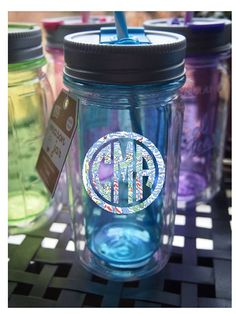 Lilly Pulitzer vinyl, Personalized Monogrammed Mason Jar Blue Tumbler -3 Way Lid for Hot and Cold Beverages & Sippy lid with plastic Straw on Etsy, $17.00