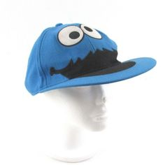 92b56472f53 Sesame Street Cookie Monster Blue Embroidered Hat Fitted Baseball Cap Size  S M 846556208848