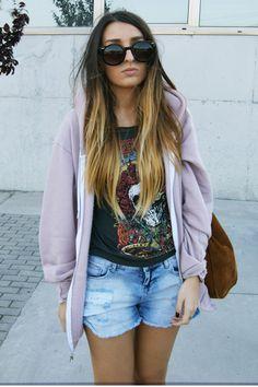 Denim shorts + Oversized hoodie + Ombre hair = LOVE!