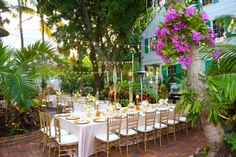 Beauitufl Garden Key West Wedding: Key West Wedding located at the Audubon House, Photography by Solaris, Planned and Designed by Kate Bentley Events, Floral and Decor by Milan Events, Linens by Over the Top Linens #goldwedding
