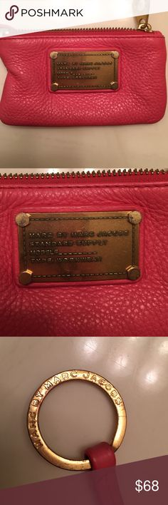 Marc Jacobs small coral wallet Marc Jacobs coral coin purse/wallet. Carried it on my keys and was big enough to fit all my cards cash etc. good condition with some minor scratches on the brass on the outside. Not very noticeable due to color. Marc by Marc Jacobs Bags Wallets