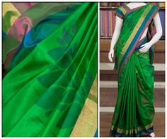 The sheen of this Mayuri soft silk in emerald green is something to die for. A hint of contrast appears at the border with stripes in gold, blue and pink giving this piece a modern touch.