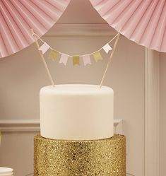Pastel And Gold Sparkle Cake Bunting