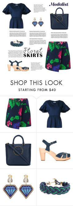 """Floral Skirt Style"" by modalist ❤ liked on Polyvore featuring MSGM, VIVETTA, Tory Burch, Swedish Hasbeens, Shourouk and Brooks Brothers"