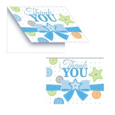 Cute as a Button Boy Foldover Thank You Card/Case of 48