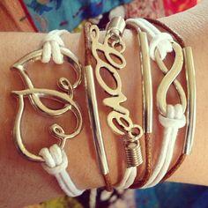 Love Infinity Bracelet, Multi Wrap Bracelet, Cross Bracelet, Leather Wrap Bracelet on Etsy, $9.99